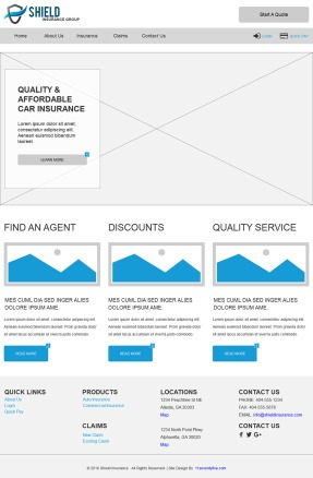 Wireframe for Insurance Company (Axure)